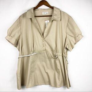 CATO Tan/White Striped Blouse NWT in Size 26/28